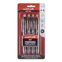 uni-ball 207 Retractable Gel Pens, Medium Point (0.7mm), Black, 4 Count