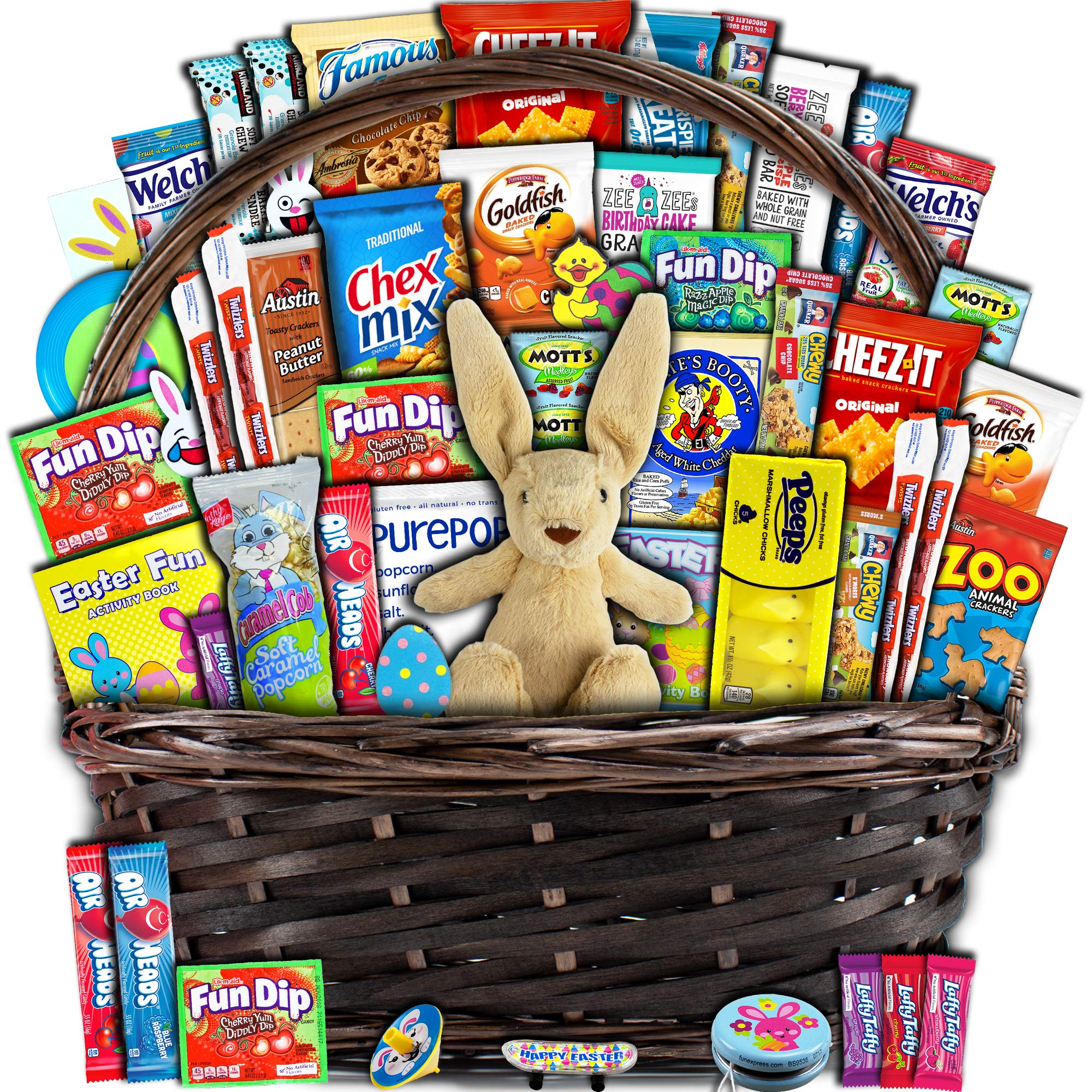 Easter Gift Basket for Kids and Adults (50ct) - Already Filled wrapped with Plush Easter Bunny, Chocolate, Candy, Peeps, and Toys - Boys, Girls, Grandchildren, Young Children, Toddlers, Men, Women