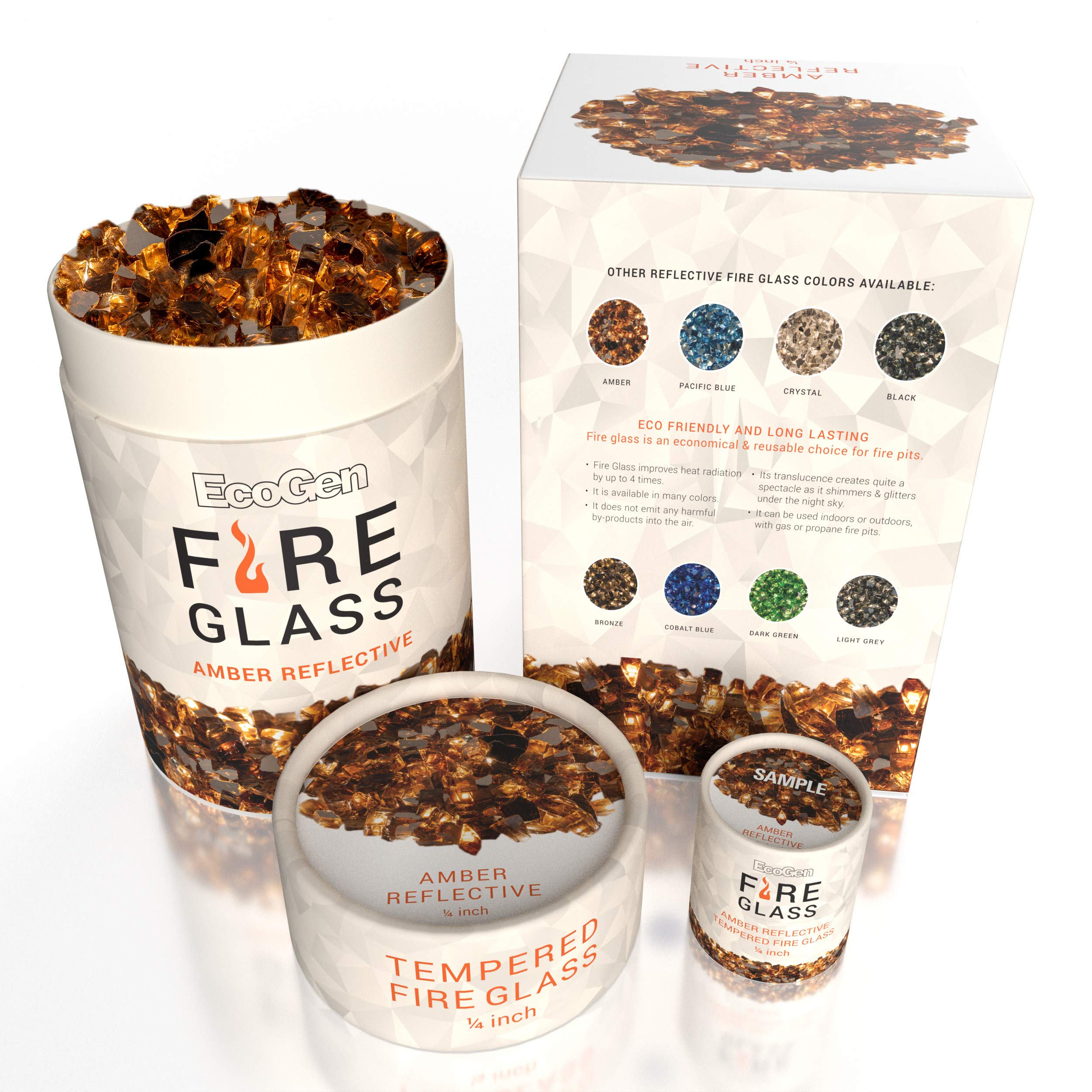 EcoGen Fire Glass Rocks for Outdoor Fire Pits and Indoor Fireplace, Color, Optimal Heat for Propane or Gas, Tempered and Reflective, Eco-Friendly Packaging, Amber 1/4 inch Reflective 12 lbs.