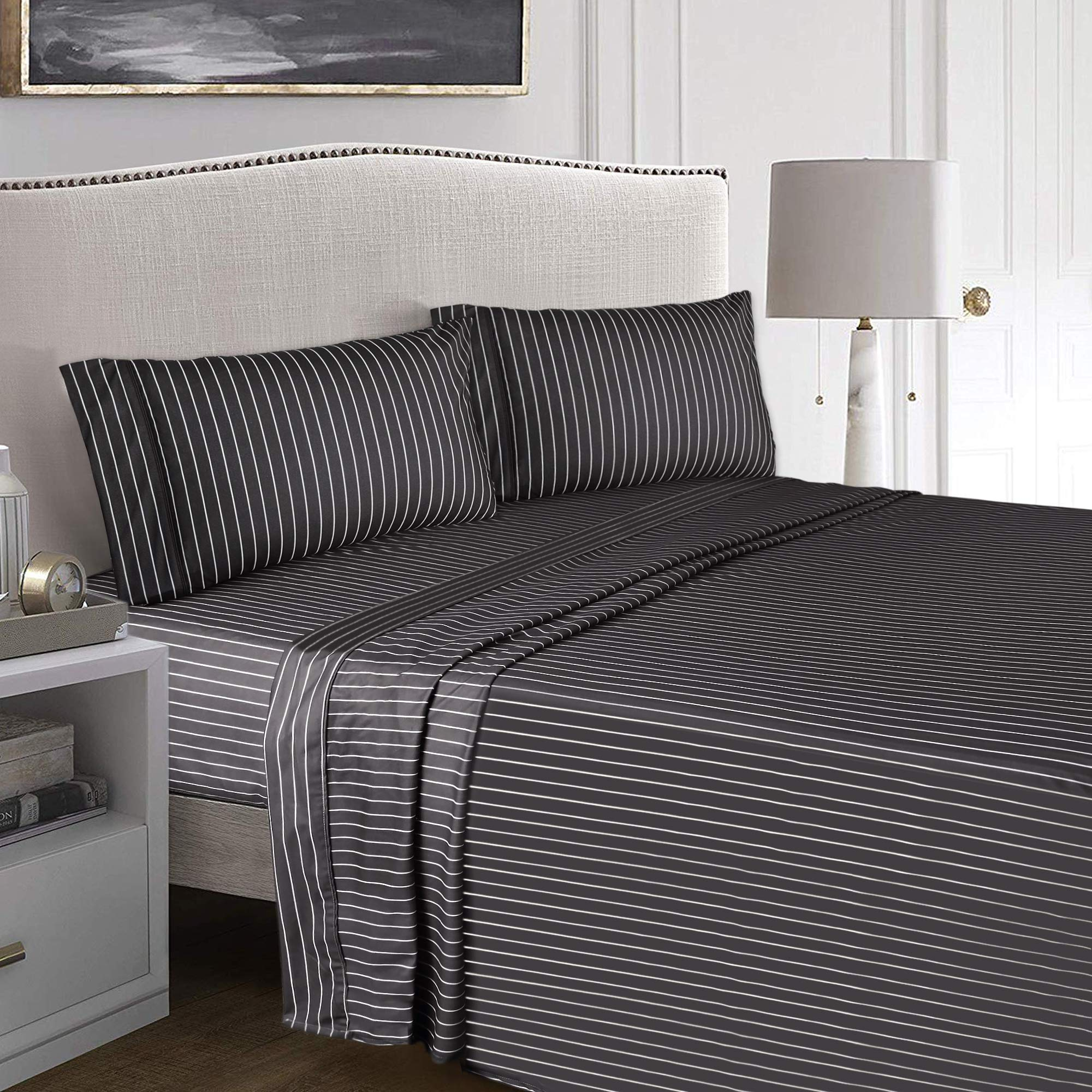MARQUESS Flannel Sheet Set,Warm Sheets, Ultra Soft Comfortable 3 Pieces Bedding Breathable & Luxury(Twin XL, Charcoal Gypsophila)