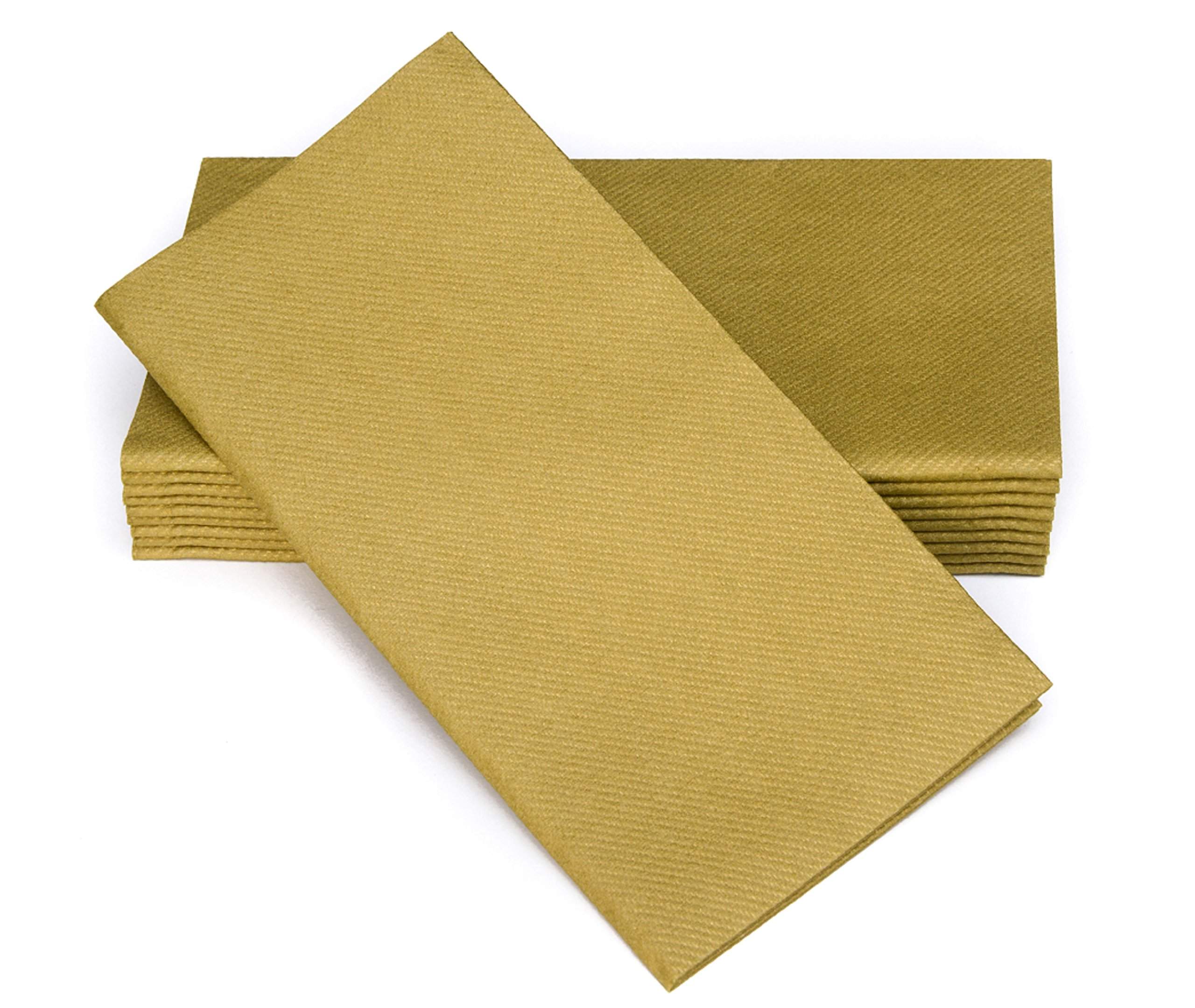"""Simulinen Colored Napkins - Decorative Cloth Like & Disposable, Dinner Napkins - Gold - Soft, Absorbent & Durable - 16""""x16"""" - Great for Any Occasion! - Box of 50"""