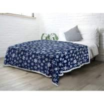 PAVILIA Premium Christmas Sherpa Throw Blanket | Blue Snowflake Decoration, Fleece, Plush, Warm, Cozy Reversible Microfiber Holiday Blanket 60 x 80 Inches