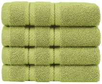 AmericanSoftLinen Premium Turkish Cotton, Luxury Hotel Quality for Maximum Softness & Absorbency for Face, Hand, Kitchen & Cleaning (4-Piece Washcloth Set, Pistachio Green)