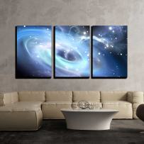 "wall26 - 3 Piece Canvas Wall Art - Heavy Black Hole. - Modern Home Decor Stretched and Framed Ready to Hang - 24""x36""x3 Panels"