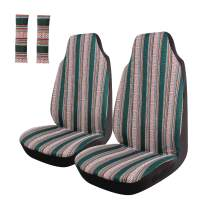 Copap Green Stripe Front Seat Cover Colorful Baja Blanket Bucket Seat Cover 4pcs Universal Saddle Blanket with Seat-Belt Pad Protectors for Car, SUV & Truck (2 seat Covers+2 seat Belt Covers)