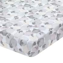 Lambs & Ivy Sleepy Sheep Gray/White Cotton Watercolor Baby Fitted Crib Sheet