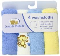 Luvable Friends Unisex Baby Super Soft Cotton Washcloths, Blue Monkey, One Size