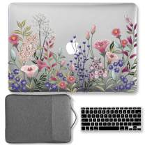 GMYLE MacBook Pro 15 Case 2018 2017 2016 Release A1990/A1707 Touch Bar Models, Plastic Hard Shell & Keyboard Cover & 15 inch Protective Carrying Sleeve Bag - Pink Plum Blossom Floral Garden