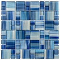 MTO0090 Modern Modular Blue Yellow Glossy Glass Mosaic Tile