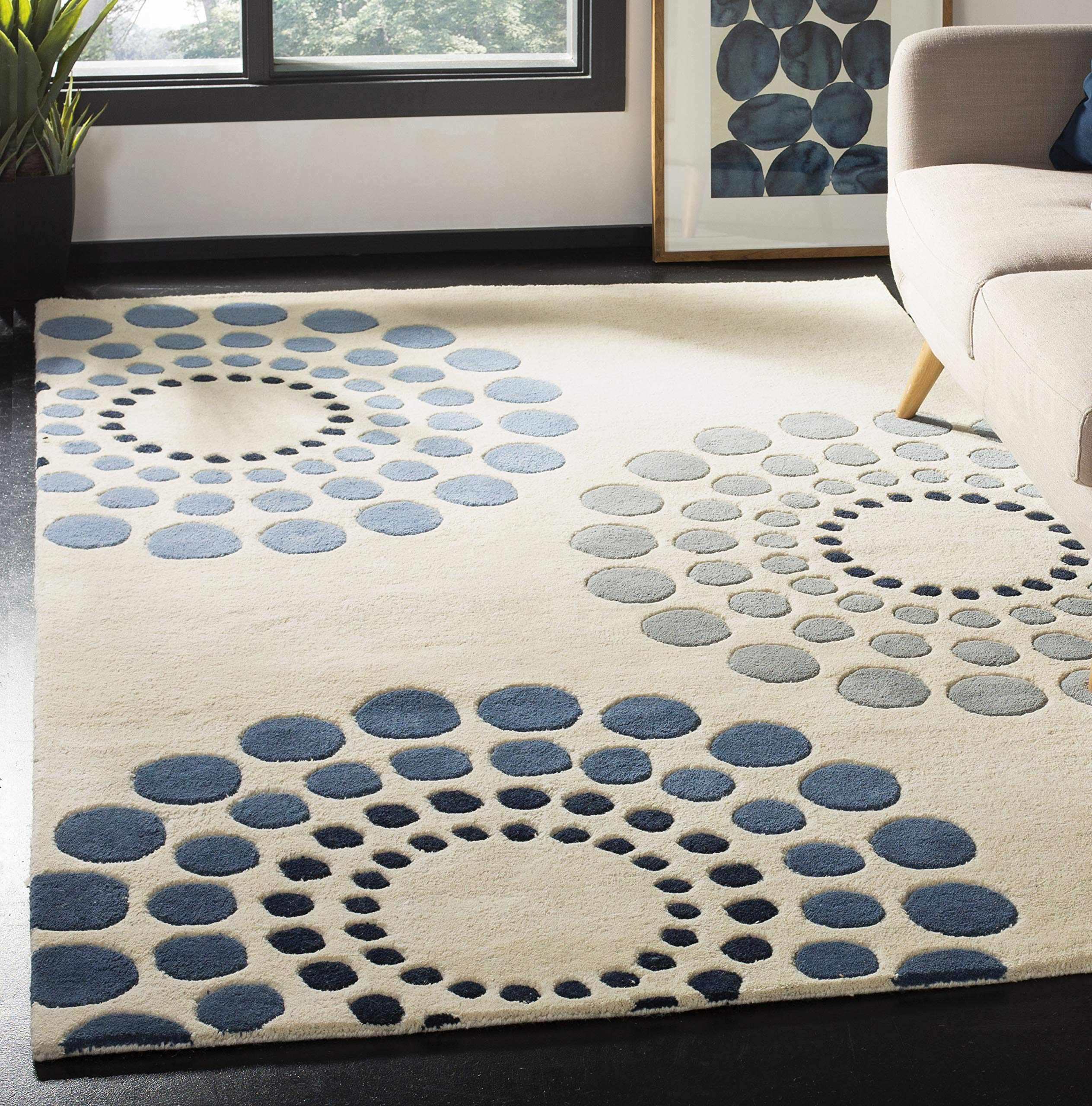 "Safavieh Soho Collection SOH788A Handmade Ivory and Multi Premium Wool Area Rug (3'6"" x 5'6"")"
