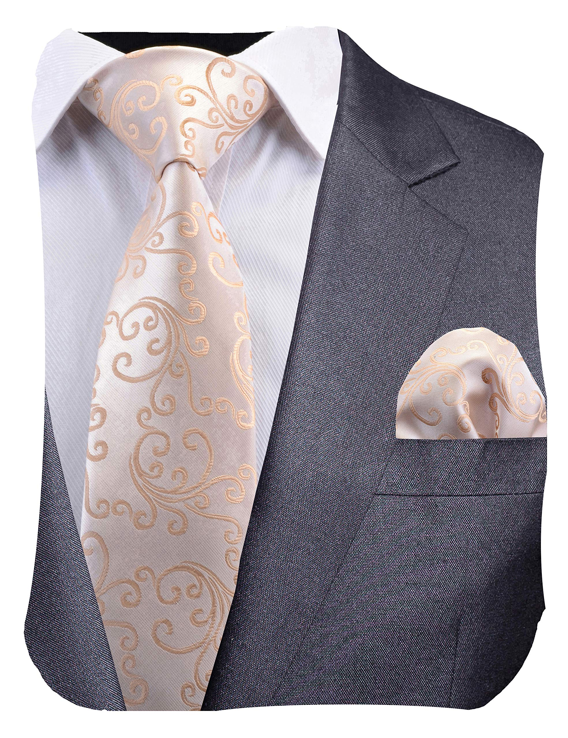 GUSLESON New Mens Paisley Striped Tie Floral Wedding Necktie and Pocket Square Set