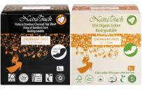 NATRATOUCH Overnight PAD ~ COMPOSTABLE ~ Texas Organic Cotton & Natural Bamboo Charcoal Sanitary Pads (5 Cotton Pads and 5 Bamboo Pads)