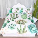 ARIGHTEX Bright Cactus Pattern Bedding Set Green Plants Cactus Print 3 Pieces Duvet Cover Set Nature Art Prints Decor Collection (Twin)