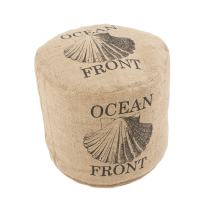 Jaipur Coastal Pattern Taupe/Black Jute Pouf, 18-Inch x 18-Inch x 6-Inch, Incense Shell