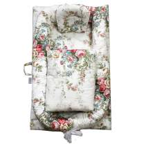 Abreeze Abreeze Baby Bassinet for Bed -White Floral Baby Lounger Including Comforter- Breathable & Hypoallergenic Co-Sleeping Baby Bed - 100% Cotton Portable Crib for Bedroom/Travel 0-24 Months