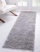 Unique Loom Davos Shag Collection Contemporary Soft Cozy Solid Shag Sterling Runner Rug (2' 2 x 6' 7)