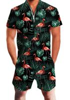AIDEAONE Mens Casual 3D Printed Short Sleeve Rompers Zip Jumpsuit with Pocket S-XXL
