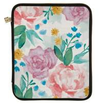"""Erin Condren Planner Folio - Watercolor Blooms, Large (10"""" x 13""""), Organizer and Portfolio Case Holder for Planners, Documents and Laptops with Gold Zipper and Inner Pouch"""