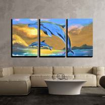 """wall26 - 3 Piece Canvas Wall Art - Dolphin in The Sea Oil Painting on Canvas - Modern Home Decor Stretched and Framed Ready to Hang - 16""""x24""""x3 Panels"""