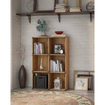 Bush Furniture kathy ireland Home Ironworks 6 Cube Bookcase, Vintage Golden Pine