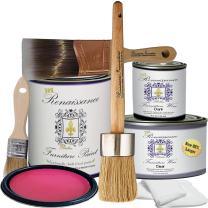 """Retique It by Renaissance Chalk Furniture Paint Deluxe Starter Kit - 32oz Paint/13oz Clear Wax/4oz Dark Wax/2"""" Paint Brush/1.5"""" Wax Brush/1"""" Detail Wax Brush - Cerise (DSK)"""