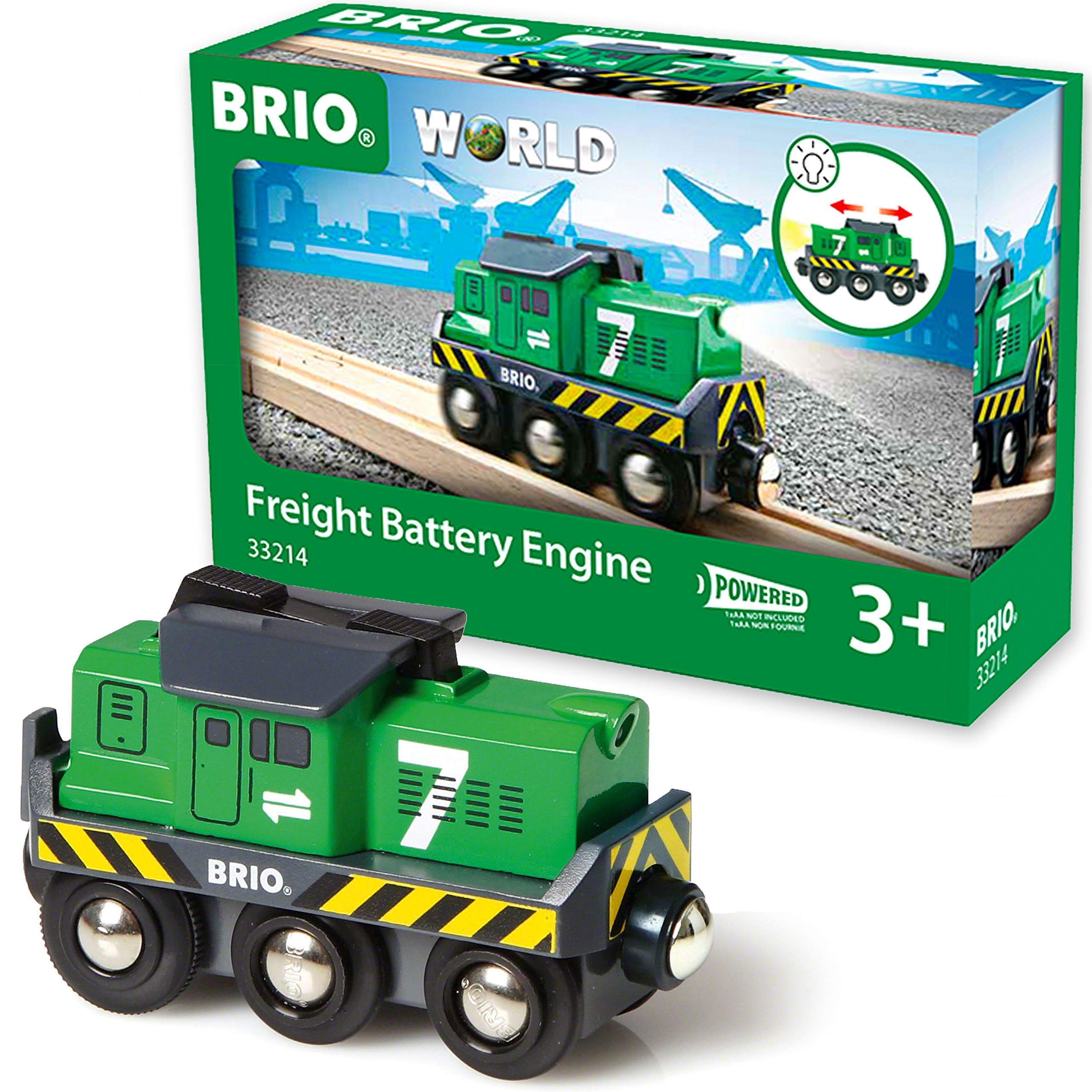 BRIO World 33214 - Freight Battery Engine - 1 Piece Wooden Toy Train Set for Kids Age 3 and Up