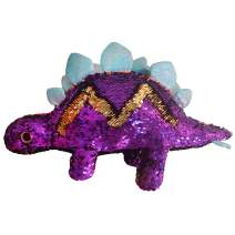 Athoinsu Flip Sequin Stuffed Dinosaur Plush Toy Sparkle Stegosaurus with Reversible Glitter Sequins Interactive Gifts for Kids Toddlers, Purple, 16''