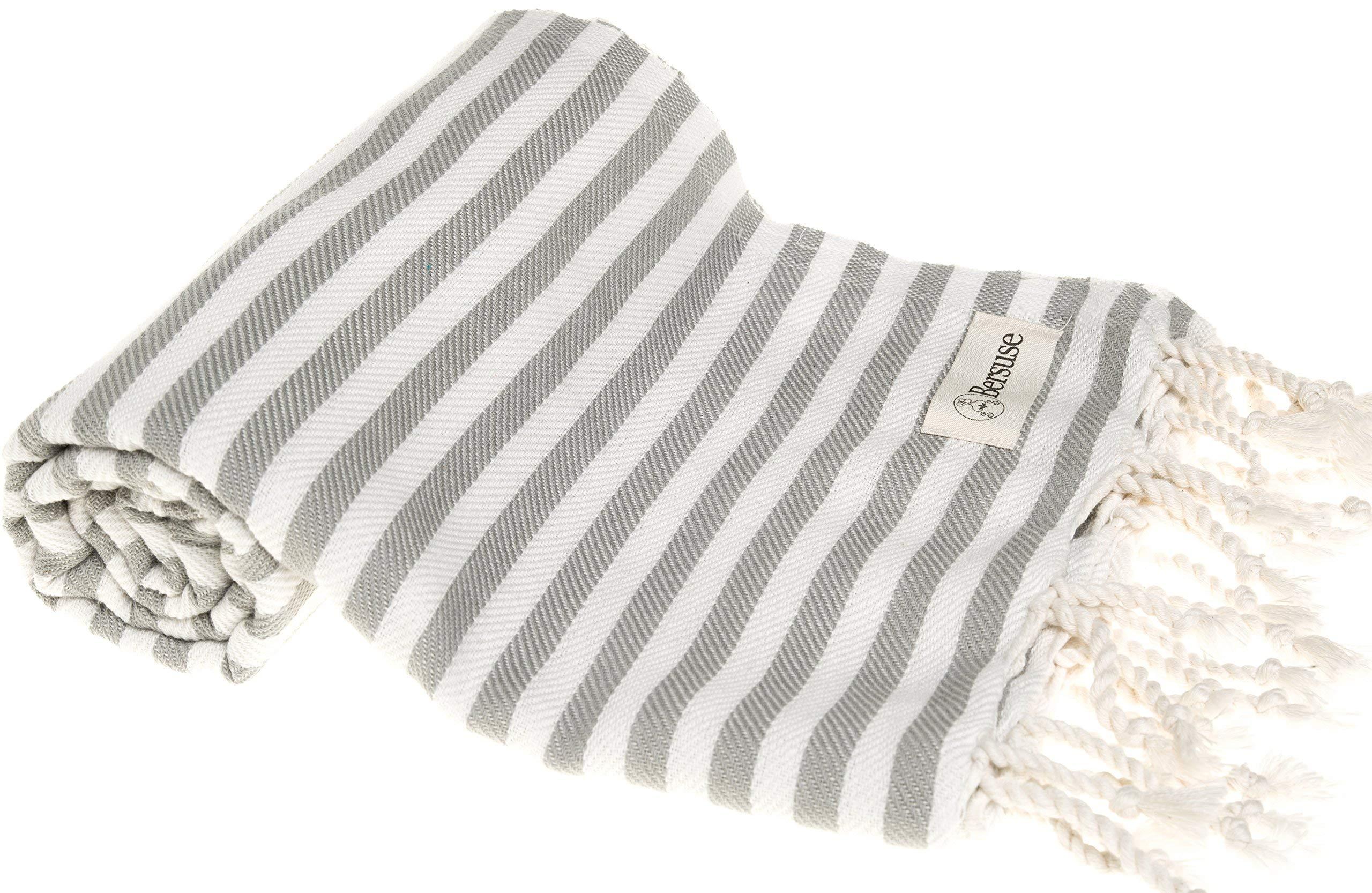 Bersuse 100% Cotton Malibu Turkish Towel, 37X70 Inches, Silver Gray