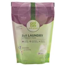 Grab Green Natural 3 in 1 Laundry Detergent Pods, Lavender + Vanilla-with Essential Oils, 24 Loads, Organic Enzyme-Powered, Plant & Mineral-Based, 13.5 Ounce