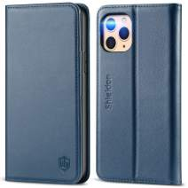 SHIELDON iPhone 11 Pro Case, iPhone 11 Pro Wallet Case with RFID Blocking Card Slots Viewing Stand Genuine Leather Magnetic Flip Shockproof Cover Compatible with iPhone 11 Pro (5.8 inch) - Dark Blue