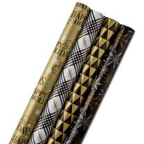 Hallmark Reversible Holiday Wrapping Paper Bundle, Black and Gold, Stripes and Snowflakes (Pack of 4; 150 sq. ft. ttl.)