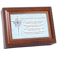 Cottage Garden Baptismal Prayer Keep Him from Harm Woodgrain Rope Trim Jewelry Music Box Plays Jesus Loves Me