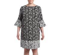 Jessica Howard Women's Plus Size Printed Bell Sleeve Dress