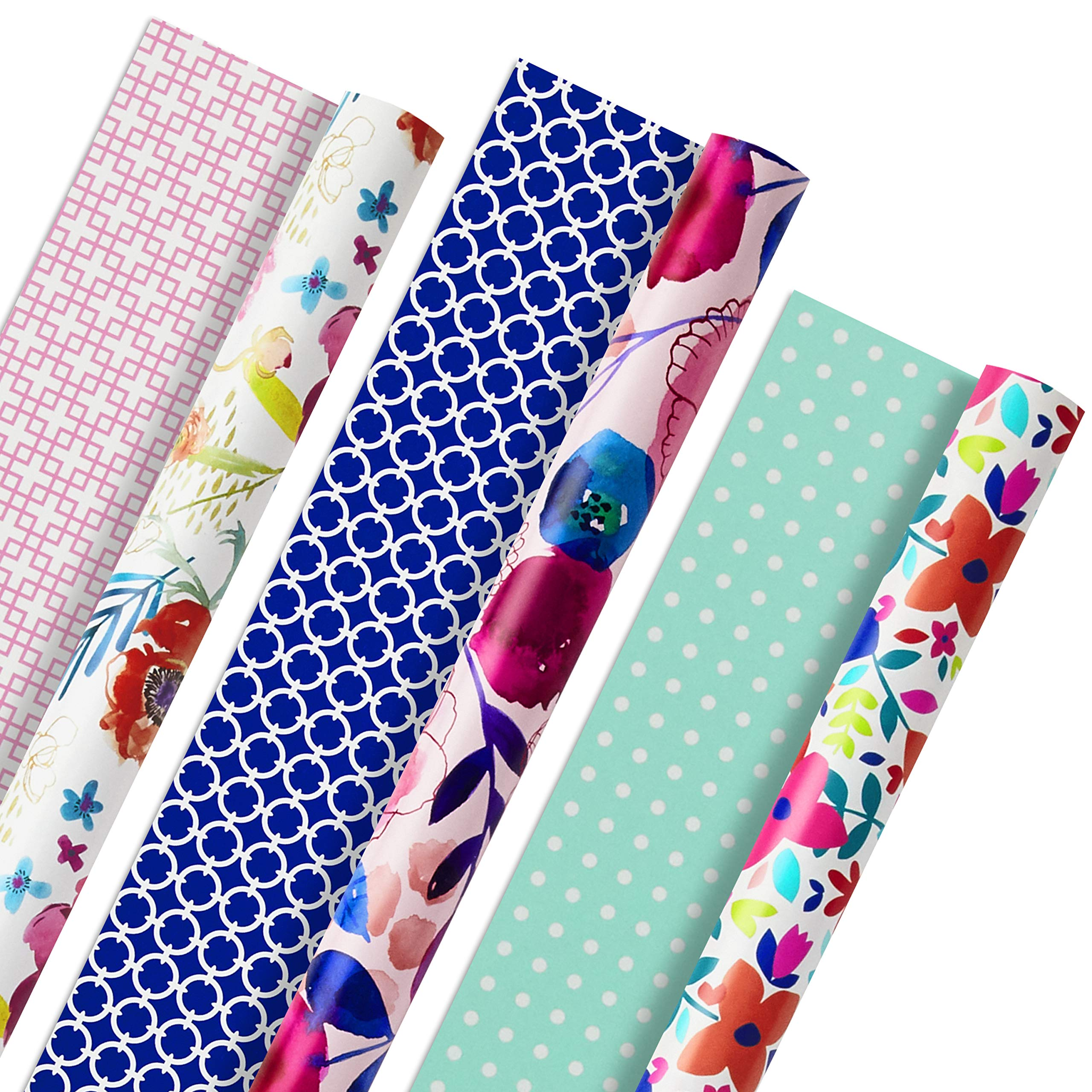 Hallmark All Occasion Reversible Wrapping Paper (Feminine Florals, Pack of 3, 120 sq. ft. ttl.) for Easter, Mothers Day, Birthdays, Bridal Showers, Baby Showers or Any Occasion