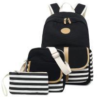 FLYMEI Canvas Backpack for Women, Lightweight School Backpack for Girls/Boys, 15 Inch Laptop Bag for Men, Durable Cute Backpack, Waterproof Black Bookbag