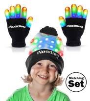 The Noodley Flashing LED Light Gloves and Beanie Hat Set - Kids Size and Adult Size - Extra Batteries (Medium, Black)