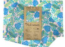 Meli Wraps Beeswax Wraps - Reusable Food Wrap Alternative to Plastic Wrap. Certified Organic Cotton, Naturally Antibacterial. 3-Pack includes sizes (SML) in Kahanu Print
