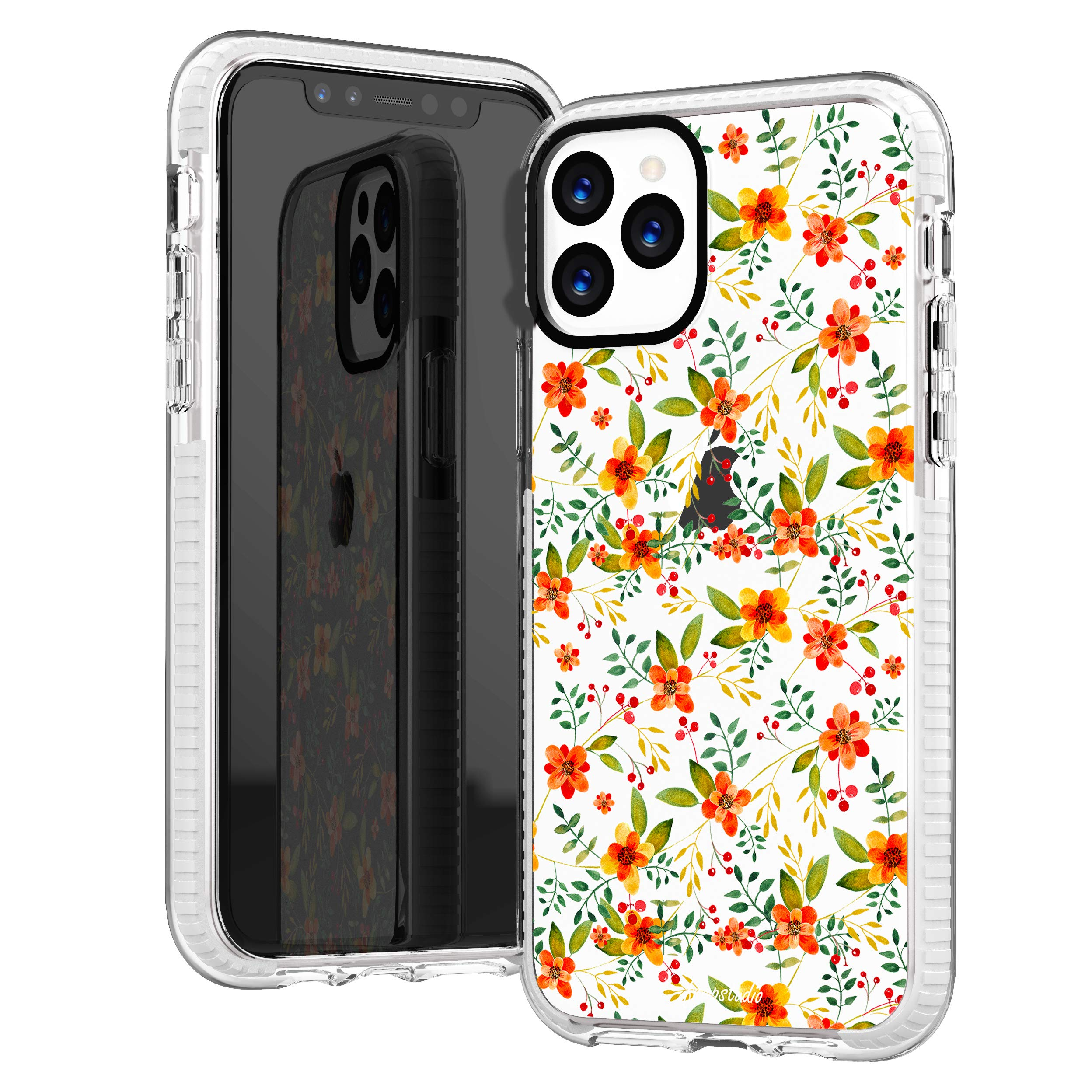 iPhone 11 Pro Clear Case,Cute Tropical Flowers Floral Orange Rose Daisy Bloom Hawaii Beach Spanish Summer Girls Women Trendy Hipster Soft Protective Clear Design Case Compatible for iPhone 11 Pro
