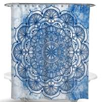 Dimaka Cute Blue Floral Shower Curtain for Girls and Kids, Decoration Design Decor Water Proof Resistant Eco Friendly Bathroom Fabric Shower Curtain (Mandala)