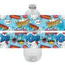 Superhero Birthday Water Bottle Labels - 24 Stickers