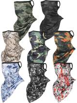 8 Pieces Face Cover Scarf Bandana Ear Loops Balaclava Unisex Cooling Neck Gaiters Scarf Shield, 8 Styles