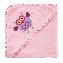 Luvable Friends Unisex Baby Hooded Towel and Washcloth, Pink Owl, One Size