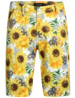 SSLR Men's Sunflowers Print Regular Fit Casual Hawaiian Shorts