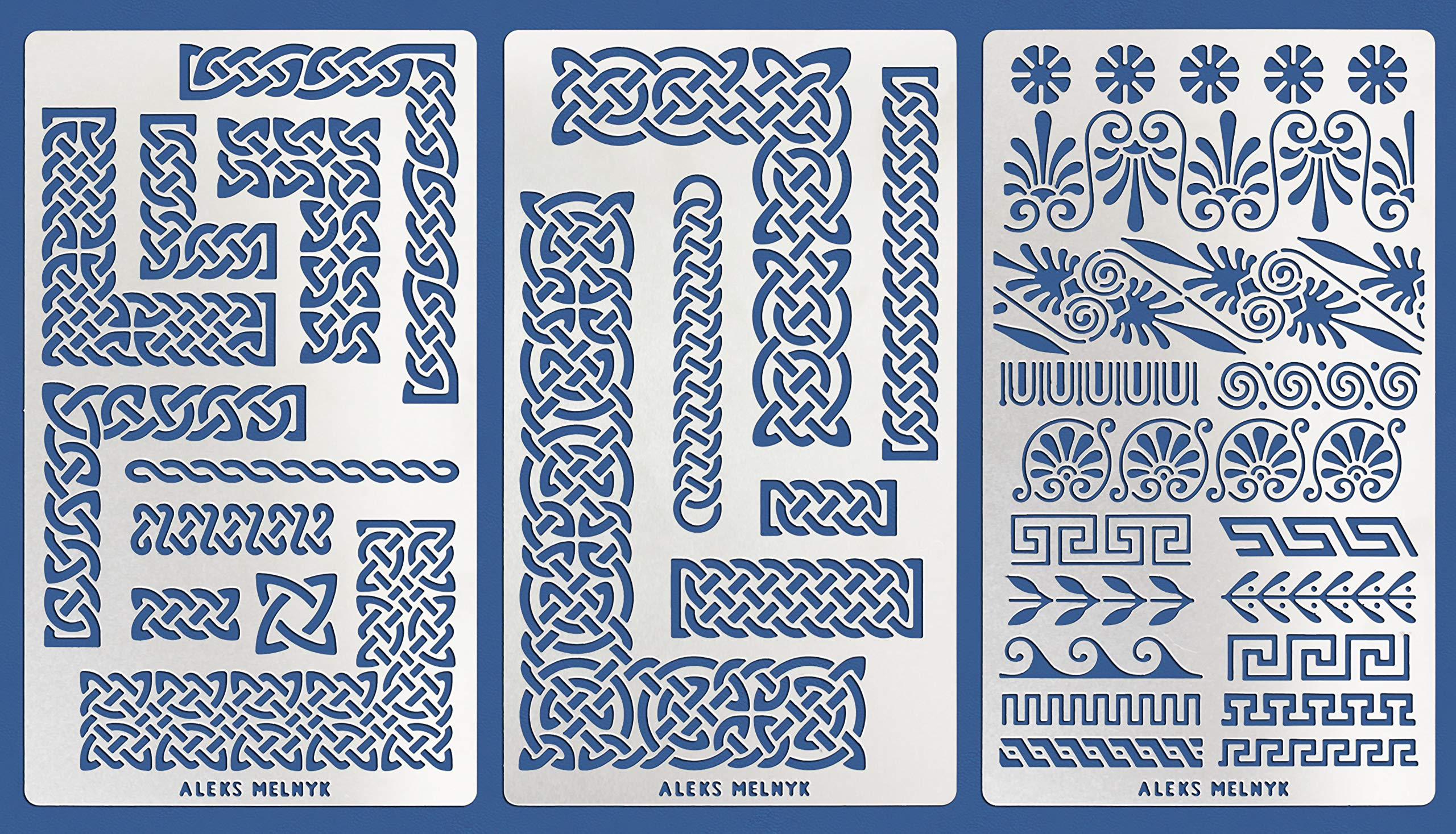 Aleks Melnyk #36 Metal Journal Stencils/Celtic Knot and Greek Ornaments/Stainless Steel Stencils Kit 3 PCS/Templates Tool for Wood Burning, Pyrography and Engraving/Scrapbooking/Crafting/DIY