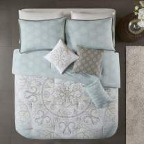 "Madison Park Reversible 100% Cotton Comforter Season Set, Matching Bed Skirt, Decorative Pillows, Cal King(104""x92""), Lucinda, Medallion Seafoam 7 Piece"