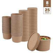 Stock Your Home (25 Count) 8 oz Kraft Brown Disposable Soup Cups with Lids have Multipurpose Use as Ice Cream Cups with Lids - Soup Containers To Go for Restaurants, Delis, and Cafes