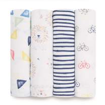 aden + anais Swaddle Blanket | Boutique Muslin Blankets for Girls & Boys | Baby Receiving Swaddles | Ideal Newborn & Infant Swaddling Set | Perfect Shower Gifts, 4 Pack, Leader of the Pack