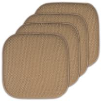 """Sweet Home Collection 4 Pack Memory Foam Honeycomb Nonslip Back 16"""" x16"""" Chair/Seat Cushion Pad - CPMF-4PK-TAUPE"""