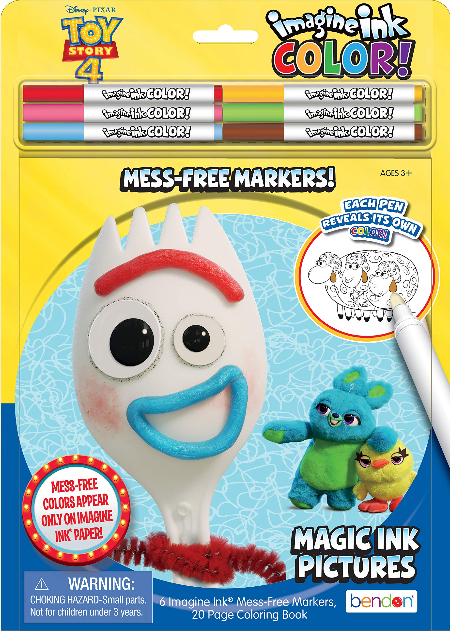 Bendon Toy Story 4 Imagine Ink Color Pad, Includes 6 Markers 45408, Multicolor