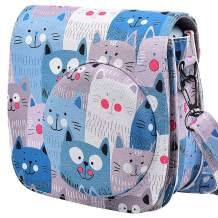Protective & Portable Case Compatible with Fujifilm Instax Mini 9 8 8+ Instant Film Camera with Accessory Pocket and Adjustable Strap - Blue Cat by SAIKA